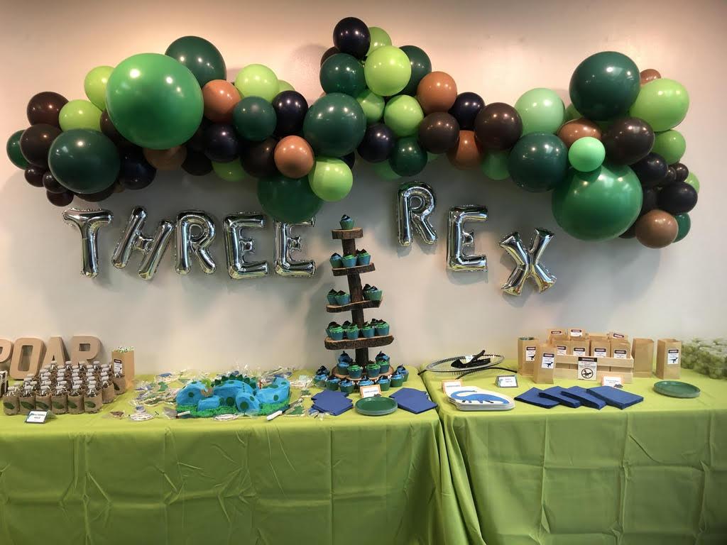 authentically amber diy kid son boy 3rd birthday party dinosaur themed cute food drink decorations