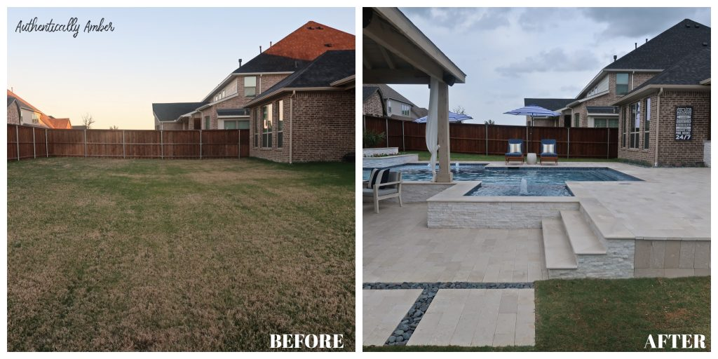 authentically amber backyard pool renovation before and after