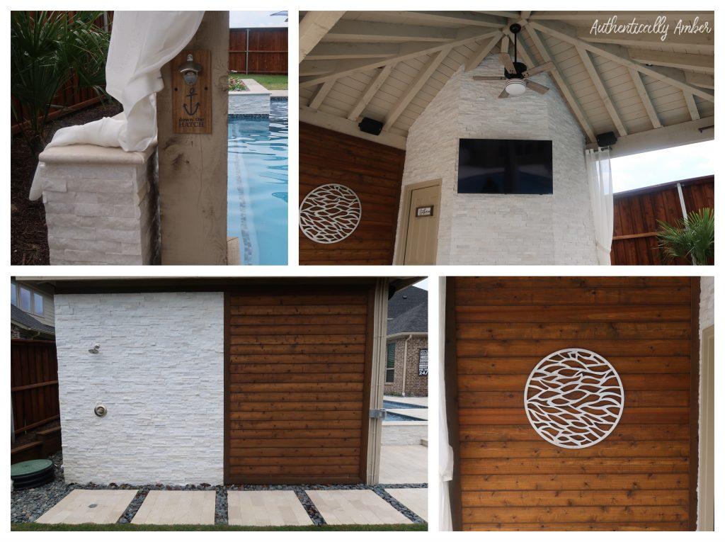 authentically amber backyard pool renovation staycation cedar wall