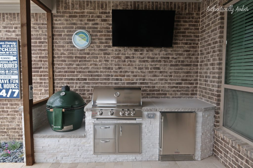 authentically amber backyard pool renovation staycation outdoor kitchen