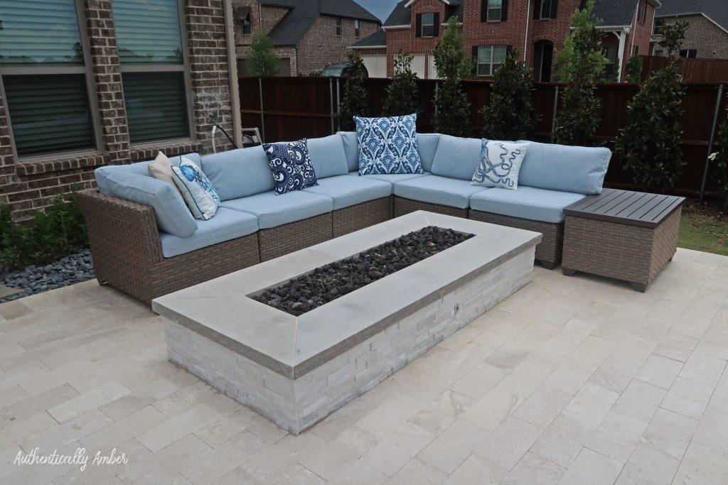 authentically amber backyard pool renovation staycation sofa firepit